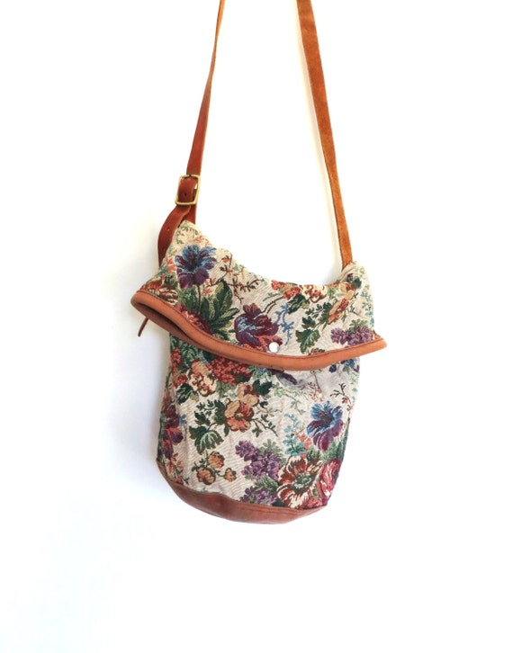 Leather Carpet Bag Leather Tapestry Tote / Carpet