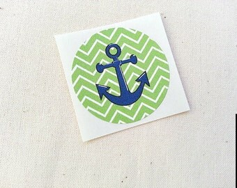 "Green Chevron Anchor Stickers Round Labels Envelope Seals 1.5"" Stickers / Nautical Theme Birthday Party Invitations Favors"