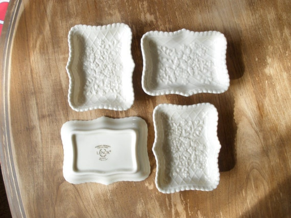 Lenox Wedding Gifts: Set Of 4 Lenox Wedding Promises Collection Ivory Trays By