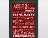 Lake House Rules Art, Subway Art, Word Art Print, Poster, Word Art Poster, Housewarming Gift, Wall Decor, Wall Art, Art Print, Red, White