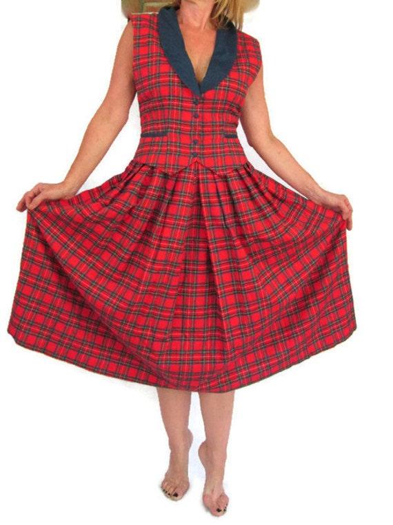 Ransom Red Plaid Dress Country Girl Lanz Flannel Tartan Dress