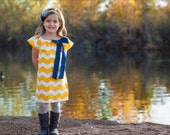 Yellow Navy White Chevron Print Fall Baby Toddler Peasant Dress