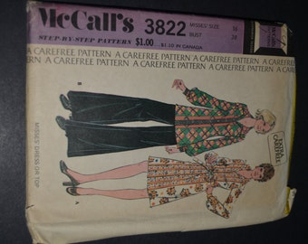 McCall's 3822 Misses Dress or Top Sewing Pattern  Size  16  Bust 38 - UNCUT