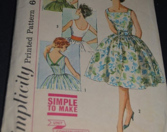 Vintage 60s Simplicity 3426 Juniors and Teen One Piece Dress Junior Dress with Three Backs Sewing Pattern - Size 11 Bust 31 1/2