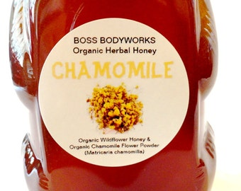 Organic CHAMOMILE Honey -12 oz- non-GMO, kosher, fair trade, herbal infused wildflower honey bear squeeze bottle
