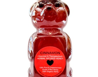 Organic CINNAMON HONEY 12oz gourmet herbal infused wildflower honey, Non-GMO, kosher, fair trade