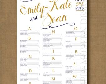 swirls wedding seating chart, PRINTABLE