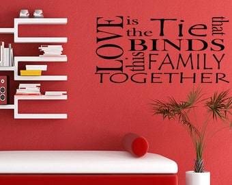 Wall Quotes Love Binds this Family Together Living Room Vinyl Wall Decal Quote Removable Wall Sticker Home Decor Quote (382)