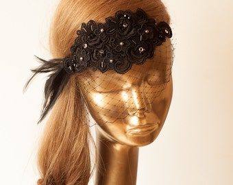 BIRDCAGE VEIL. Black Veil .Romantic Wedding Headpiece with beautiful,delicate Guipure LACE Flowers.Bridal Fascinator