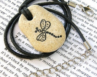 Dragonfly necklace handmade Dragonfly pendant handmade dragonfly handmade dragonfly on stone jewelry stone Dragonfly