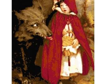 My, What Big Eyes U Have Vintage Red Riding Hood Cross-Stitch Pattern