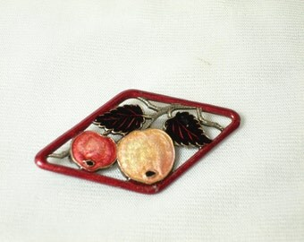 Vintage French Hand Enameled Fruit Brooch. Very Unique