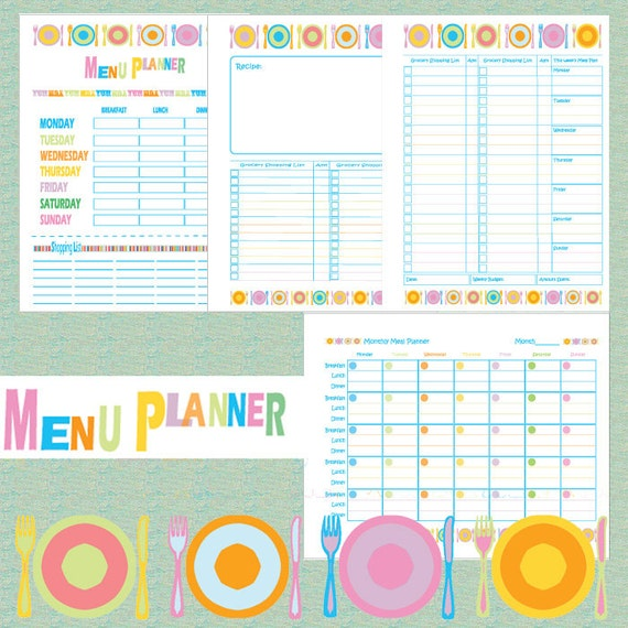 Menu Planner Printable Meal Planner Set Instant Download