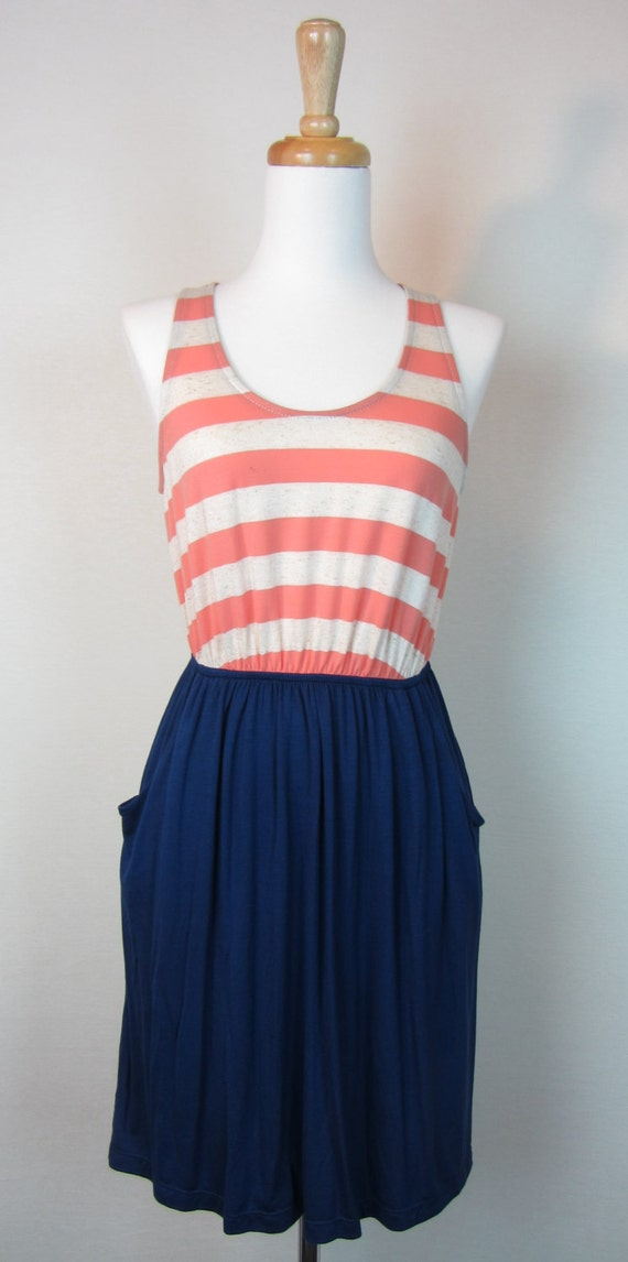 Sleeveless Stripe and Solid Combination Dress