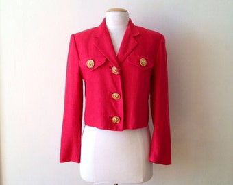 cropped jacket / silk 80s red jacket / cropped blazer / 80s red blazer / silk crop jacket / red silk blazer