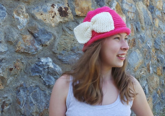 Bow brimmed hat, handmade knit hat, women pink hat.  Accessories. Stylish design for you. Ready to shipping.