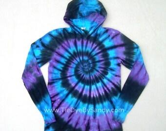 Tie Dye Hoodie Moon Shadow Spiral Long Sleeve Hooded Tshirt