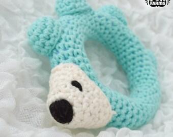 Baby Hedgehog Rattle,  Aqua Blue Hedgehog,  Crochet Hedgehog Rattle Toy