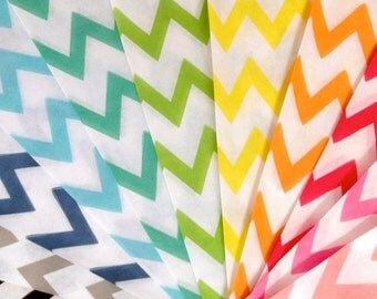 25 Blue Chevron Stripe Paper Treat Bags - Party Favor Bags - Party Supplies