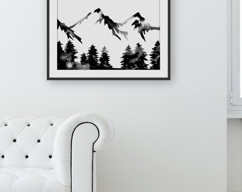 Large Hand Painted Watercolor  Forest Mountain Painting Wilderness Art Mountain Watercolor Scandinavian Minimalist Art Black White Artwork