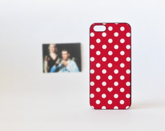 Red Heart and Polka Dots iPhone Case - Red iPhone 4/4s Case - Red iPhone 5 Case - Polka Dots iPhone Case - Cute iPhone Case