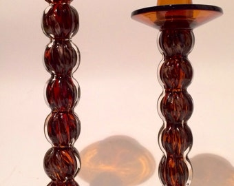 Amber Candle Sticks Glass with Bobeches Barley Twist One Pair Table Mantle Center Hall Decor