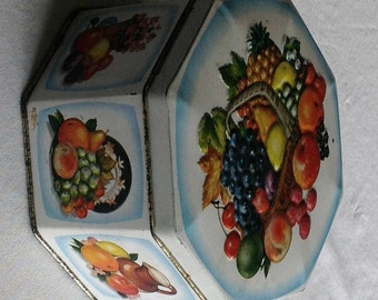 Vintage Octagon Fruit and Floral tin with Hinged Lid Made In ENGLAND