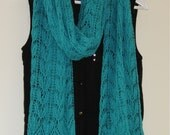 Knit lace scarf / wrap. Turquoise baby alpaca and mulberry silk. Hand-knit, handmade.