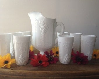 Indiana Glass 9 Piece Milk Glass Pitcher and 8 Large Tumbler Set Harvest Grape Pattern