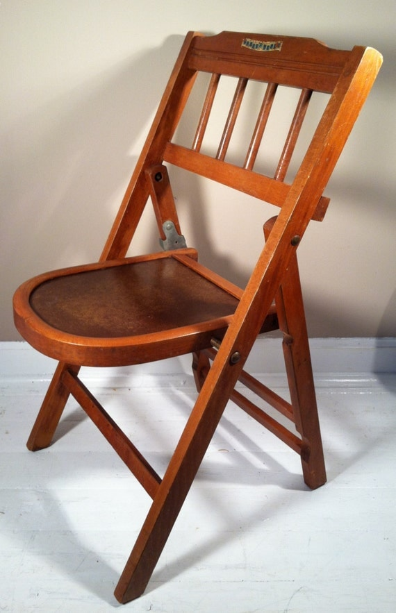 Vintage Babee Tenda Childs Wooden Folding Chair Mid Century