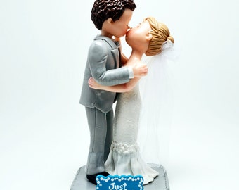 Handmade Polymer Clay Wedding Kissing Couple Cake Topper