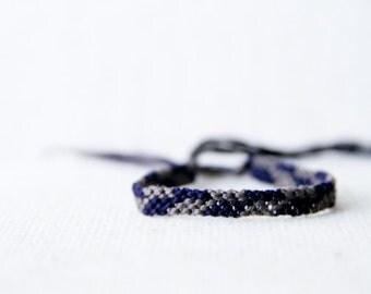 Woven Bracelet Grey and Navy Asymmetrical Chevron Friendship Bracelet / Stocking Stuffer