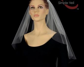 Shoulder Length Bridal Veil, Cut Edge, Simple Veil