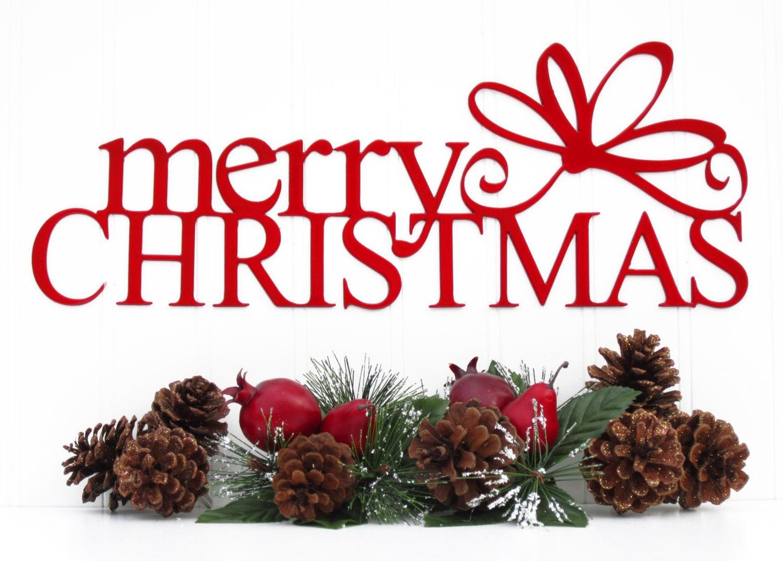 Christmas Wall Art Merry Christmas Metal Sign With Bow Red 15x55 Metal Wall
