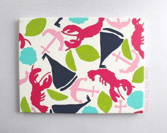 Nautical Canvas With Seashells, Limes, Lobsters, Sailboats And Anchors