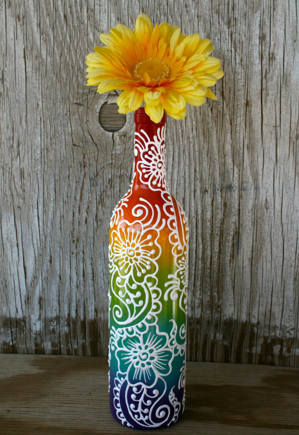 Rainbow colored hand painted wine bottle vase for Where to buy colored wine bottles