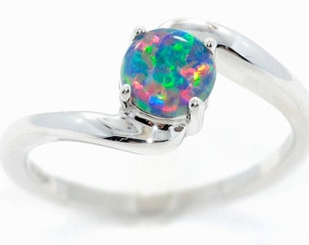 Black Opal Round Ring .925 Sterling Silver Rhodium Finish