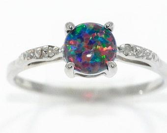 Black Opal & Diamond Round Ring .925 Sterling Silver Rhodium Finish