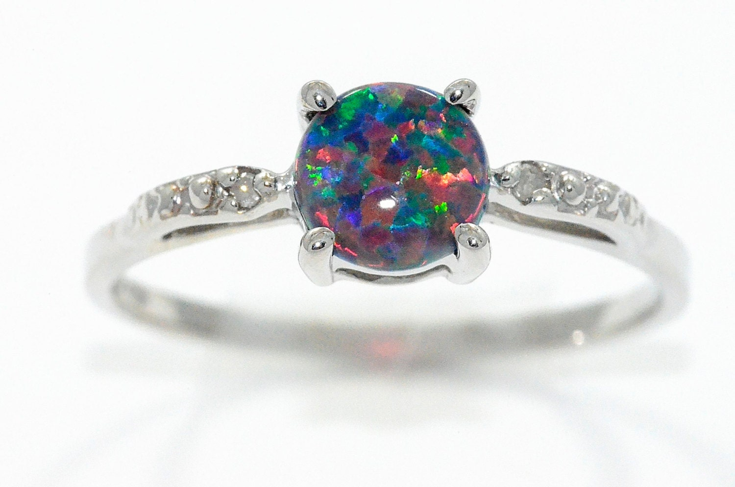 black opal diamond round ring 925 sterling silver rhodium finish - Opal Wedding Ring