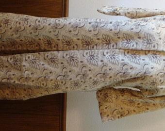 Vintage  Long Jacket Duster Robe Mandarin Style Barkcloth Like Custom Made Medium