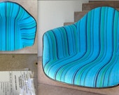 EAMES ALEXANDER GIRARD Rocker Turquoise Teal Blue Green Stripe Fabric Herman Miller Double Interlocking Summit Triangles Rocking Chair Rare - TheAvidDiva