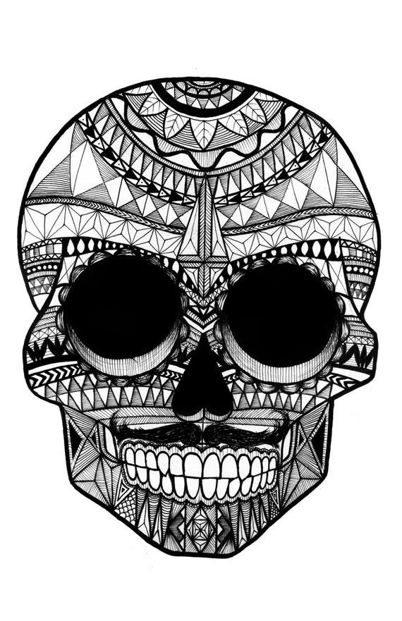 Items Similar To Patterned Sugar Skull Black And White