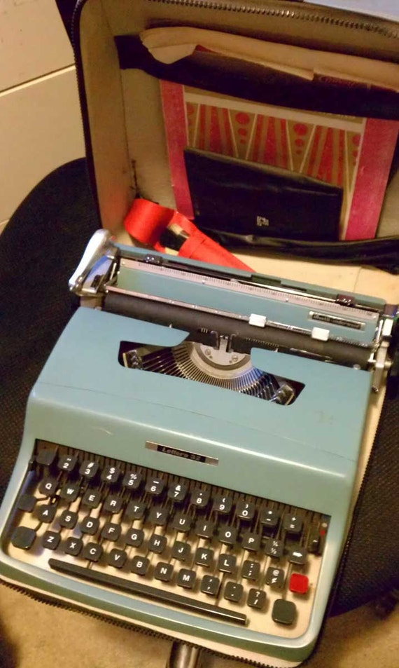 HOLD For Joseph Vintage Mid Century Modern Olivetti-Underwood Lettera 32 Portable Manual Typewriter in Blue with Case Booklets & Extras