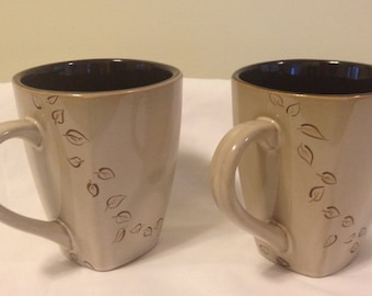 Brown Mug with Hand Painted Leaves Set of 2