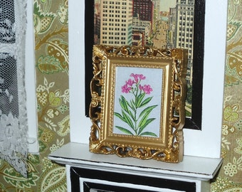 Miniature dollhouse vintage ornate gold plastic frame with flowered plant