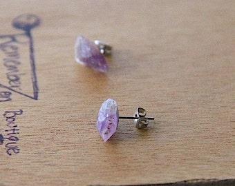GENUINE Amethyst Pretty Stainless Steel Earrings Healing Crystal Natural Stone