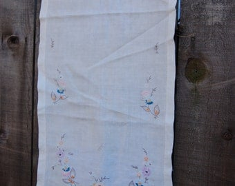 Linen embroidered table runner or dresser scarf.