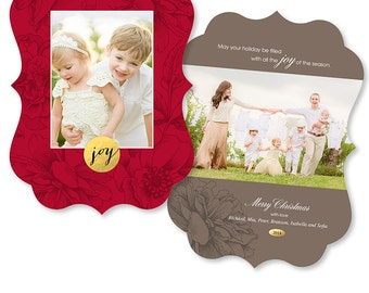 Ornate Luxe Christmas Card Photoshop Template  - 1165