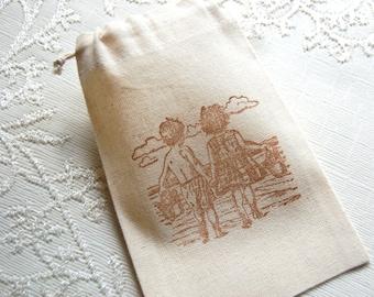 Beach Kids Muslin Gift Bags -Set of 10 Fabric Drawstring Bags/ Party Favor Bags (Children/ Summer/ Ocean/ Beach Party Theme- Goody Bags)