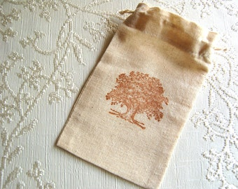 Oak Tree Muslin Bag -Fabric Drawstring Bag/ Gift Bag/ Party Favor Bags (Rustic Wedding/ Party Theme)